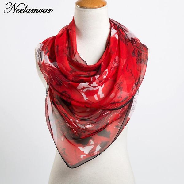 Al por mayor-nueva bufanda de la manera mujeres de lujo georgette sensación de seda señoras oblongas bufanda edificio y letras imprimir bufandas para mujeres abrigos