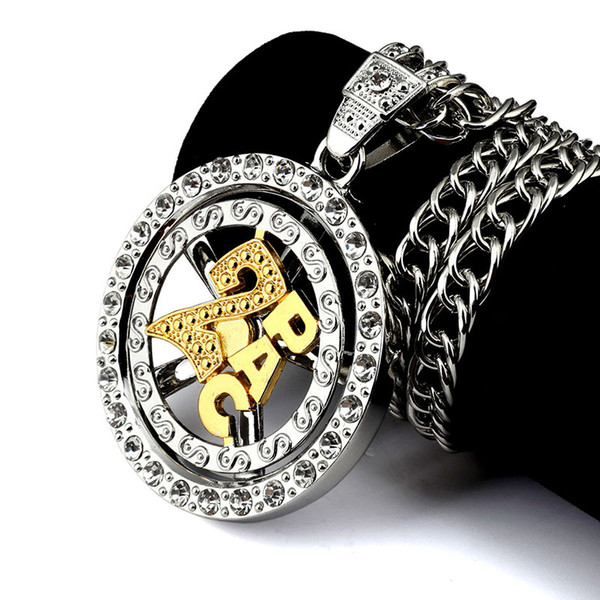 Хип-хоп ожерелье золото серебро 2Pac вращающийся круглый кулон ожерелье CZ Кристалл