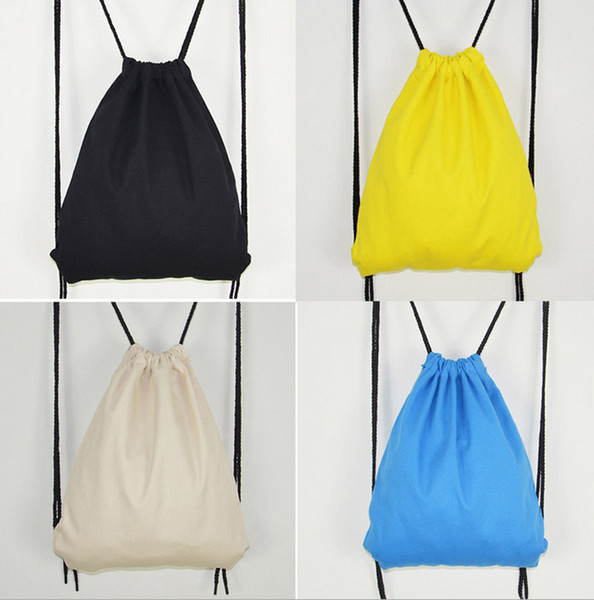 50PCS 2017 Pure Backpack Cotton Linen Drawstring Bags Travel Bags Cute Backpack Kids School Bag Cute Sports Handbag Shoulders Bag