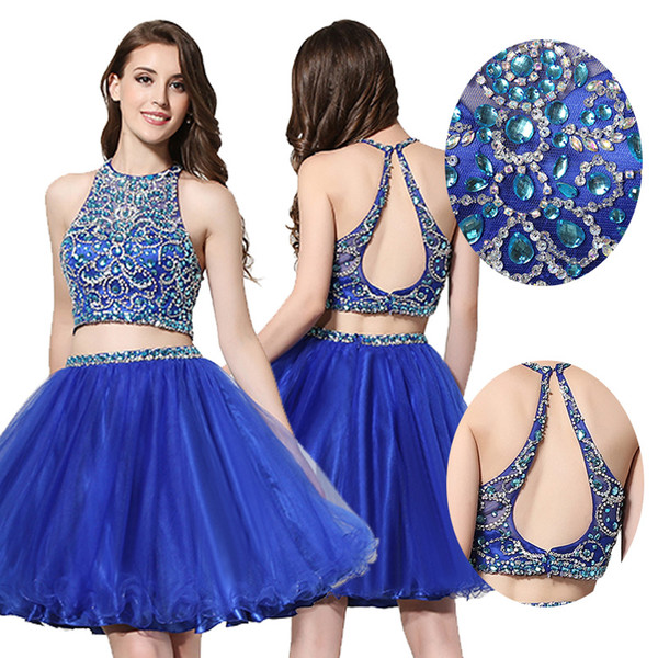 best selling Two Pieces Homecoming Dresses 2020 Cheap Beaded Backless Tulle Lace High Neck 8th Graduation Dresses Short Party Prom Dress