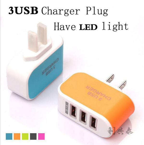top popular Metal Dual USB wall US plug 2.1A AC Power Adapter Wall Charger Plug 3 port for samsung galaxy note LG phone tablet ipad 2019