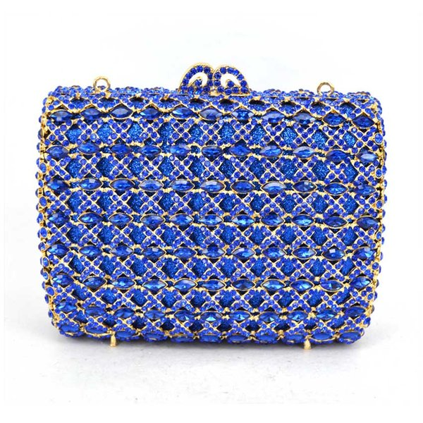 Women Wedding Clutches Bag blue Flower Crystal Evening Bags Party red clutch Purses