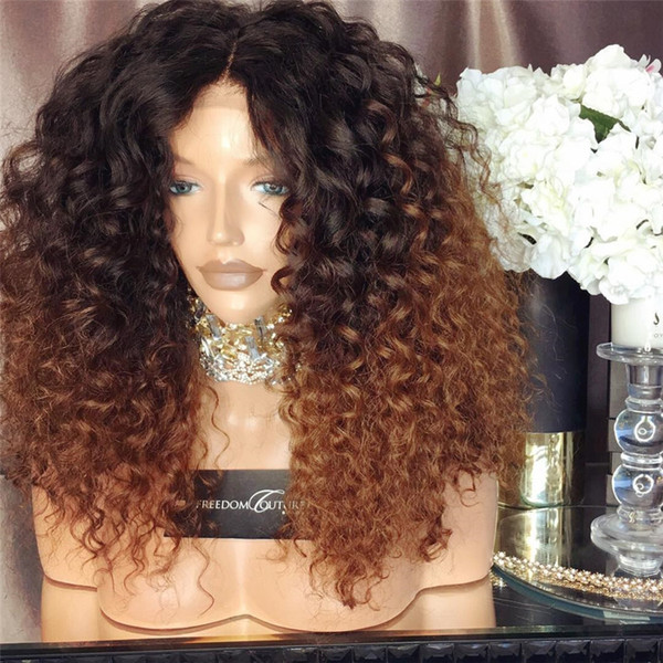 Bythair virgin brazilian human hair wigs ombre color #1B/#30 kinky curly full lace wigs 150% density lace front wigs for black woman