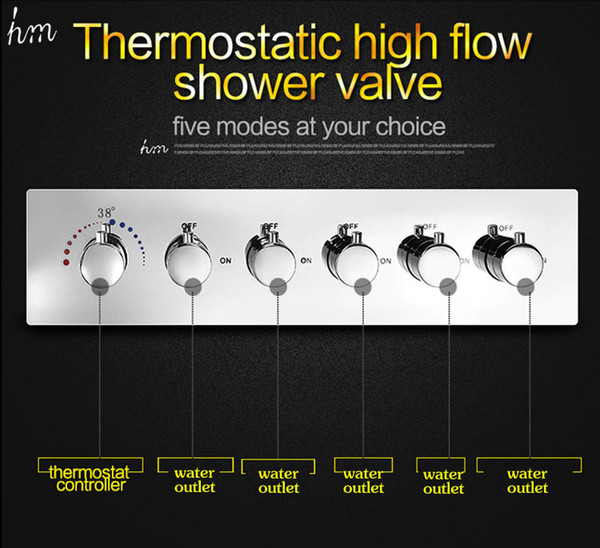 KAN Bathroom Accessories 5 Function Brass Chrome Conceal Wall Mounted Thermostatic Valve High Flow 70L/min Water Faucet 161222# 161225