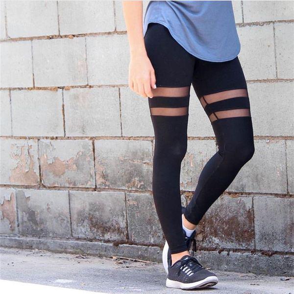 2017 Women Fitness Elastic Waist Mesh Splice Yoga Leggings Training Sport Pants Gym Athletic Running Tights Sportswear Trousers