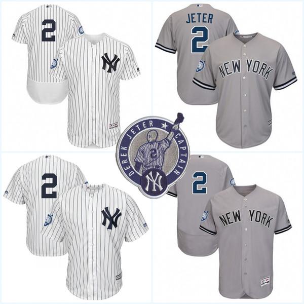 74e1323a773 ... Patch 2 Derek Jeter Jerseys Hombre Nueva York Yankees Flex Base Cool  base cosida bordados ...