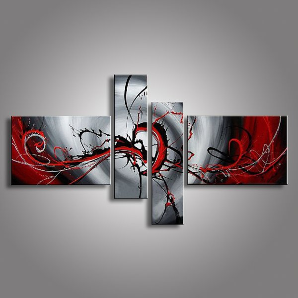 4 Piece Hand Painted White Silver Purple Modern Abstract Oil Painting On Canvas Wall Art Peacock Pictures For Living Room