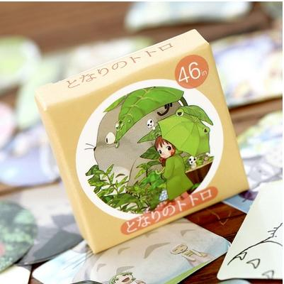 best selling Wholesale- 46pcs pack Kawaii Totoro Diary Label Stickers Watercolor Sticker Packs Decorative Diary Sticker Adhesive