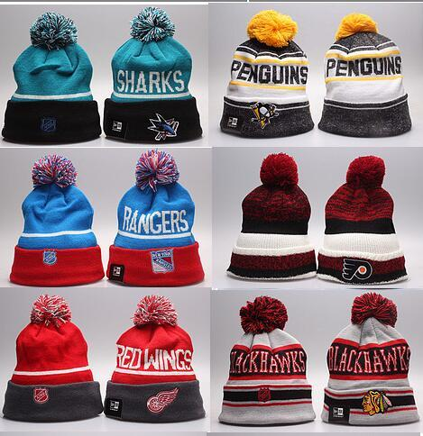 Winter Beanie Hats for Men Knitted NHL Wool Hat Gorro Bonnet with San Jose Sharks Beanie Boston Bruins Pittsburgh Penguins Winter Warm Cap