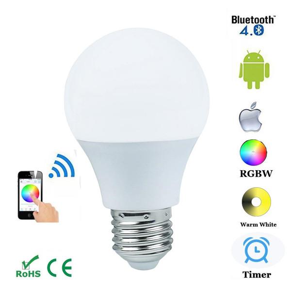E27 4.5 w bluetooth 4.0 inteligente ios android app lâmpada de controle sem fio lâmpada led mudança de cor pode ser escurecido para home hotel