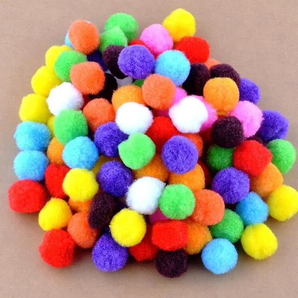 Venta al por mayor- Envío libre-100pcs / lot pequeño multicolor decoración de bricolaje bola 20 mm pelaje de bolas de piel decoración para el hogar flores decorativas artesanía K01445