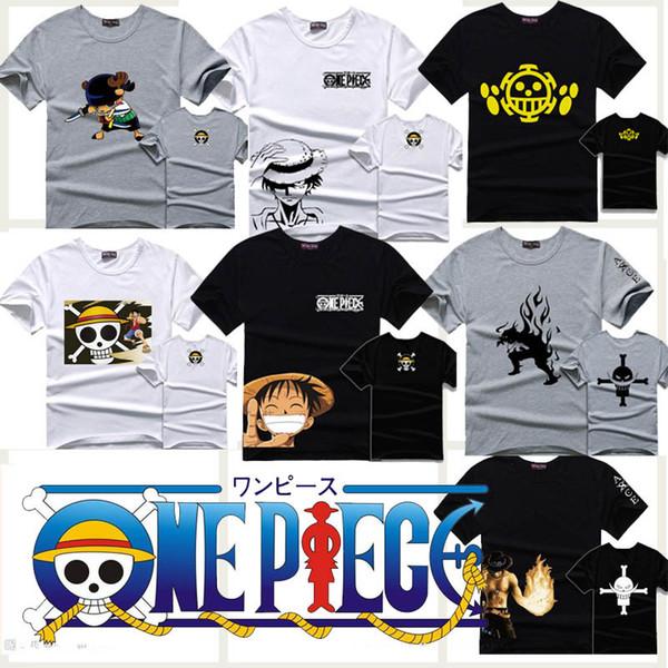 Wholesale- One Piece T-shirt in cotone luffy anime manica corta da uomo t shirt top maglietta tee