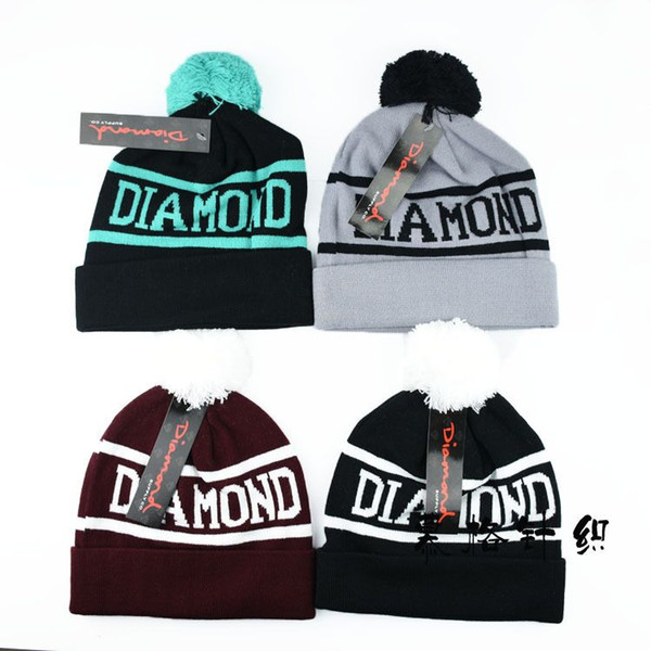 20 pcs DIAMOND SUPPLY CO Beanie Hat Hip-Hop Wool Winter Cotton Knitted Warm Caps Snapback Hats For Man And Women Free Shipping