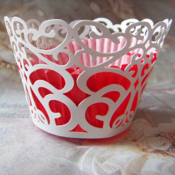 Wholesale-free shipping 12pcs White Vintage Filigree Flower Laser Cupcake wrapper muffin paper Cup cake box