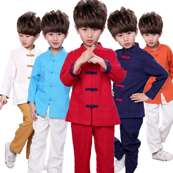 cb212a54a8e6 5 colors Baby girls boys tracksuits Set Chinese Style Retro Pankou Children  Tang costume boys clothing
