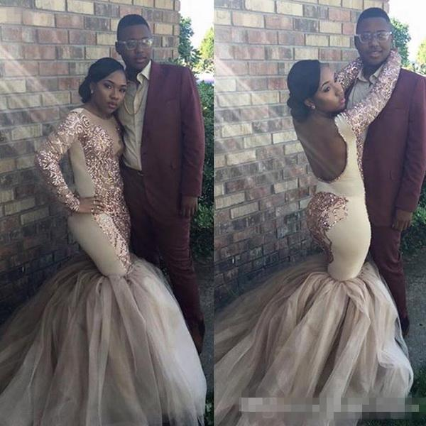 Sexy Open Back Prom Dresses Mermaid 2017 Rose Gold Sequined Long Sleeves Ruched Tulle Red Carpet Evening Gowns Fashion African Party Dresses