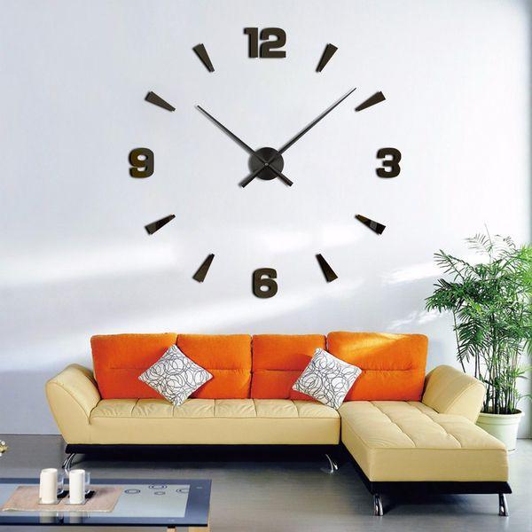 Venta al por mayor-Nueva Llegada Relojes de pared Estilo moderno Reloj de pared Etiqueta Acrílico 3D DIY Reloj Decoración para el hogar Etiqueta de la pared Sala de estar decorativa