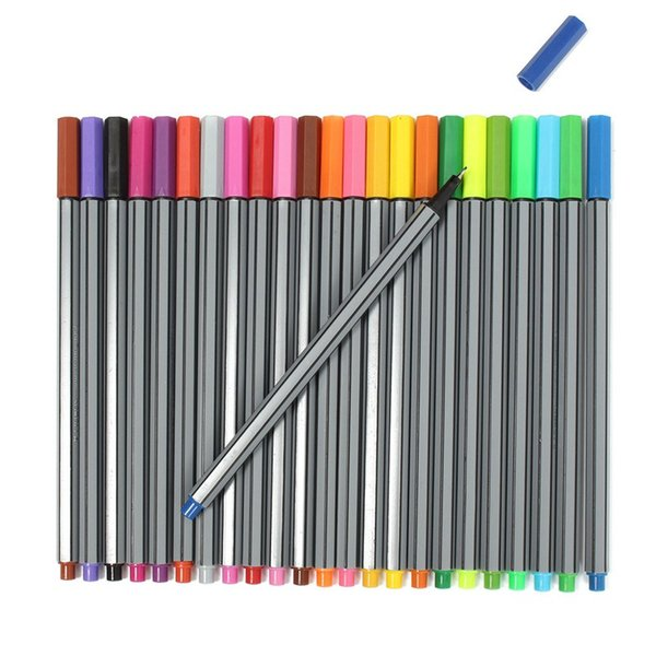 24PCS Color 0.4 mm Fiber Water Marker Pen Draw Liner Copic Finecolour Markers Sketch Drawing Art Painting Professional