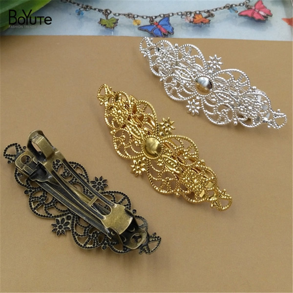 BoYuTe 10 Pieces 60MM HOT sale Filigree Flower Hairpin Wholesale 3 Colors Plated Women Hair Clip