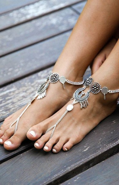 Boho Beach Barefoot Sandals Hollow Flower Disc Toe Bracelets Tassel Harness Slave Anklet Bracelet Turkish Jewelry 1Pc