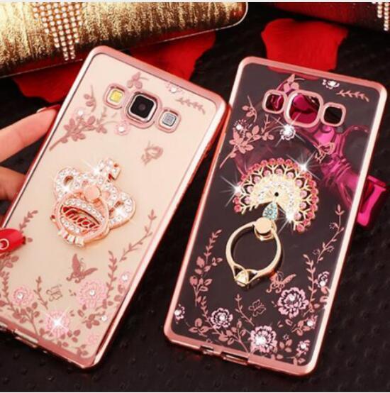 New Luxury Flower Soft TPU Silicone Ring Holder Phone Case For Samsung Galaxy J1 2016 J3 i9082 J510 J710 J2 Prime J7 Prime Grand Capa Cover