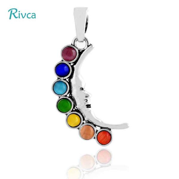 A39 Rivca Natural Crystal 7 Chakra Stone Tree Of Life Pendant Necklace For Women Reiki Symbols Yogo Energy Pendant Amulet