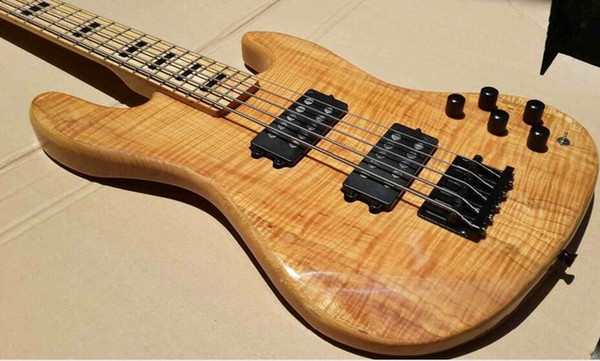 best selling Wholesale-flame maple 5 string electric bass guitar