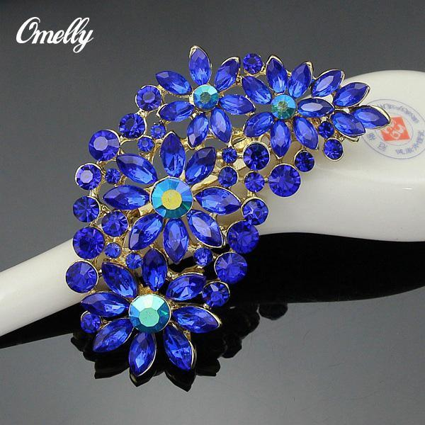 Luxury Bridal Gold Filled Flower Crystals Brooch Bouquet Peacock Brooches Pin Rhinestones Christmas Jewelry in Bulk