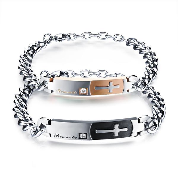La personnalité des hommes et des femmes croise le bracelet de couple pionnier sur la créatrice de bijoux en acier titane rétro minimaliste coréen