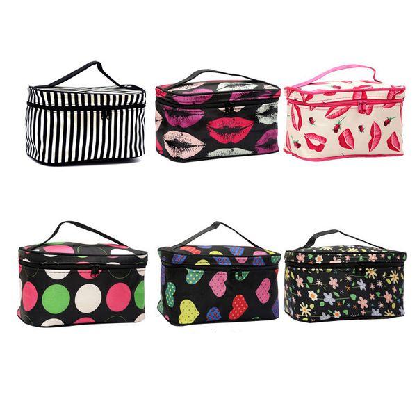 6 colores barato bolso de maquillaje con cremallera labio Zebra Dot flores patrón de viaje de las mujeres bolso cosmético envío libre venta al por mayor ELB063