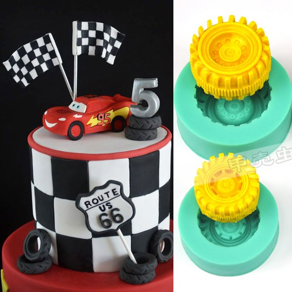 1pcs car tires silicone cake mold sugarcrafts fondant cake decorating tools chocolate mould cupcake toppers pastry