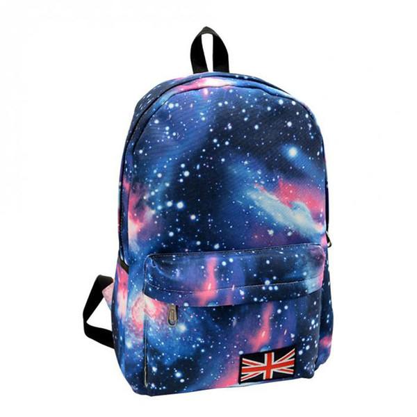 Al por mayor-Nueva mujer Oxford impresión mochila Galaxy Stars Universo Space School Book Campus mochila estudiante bolsa bandera británica