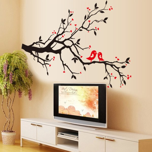 Tree Branch Birds Love Wall Sticker Tree Vinyl Wall Decal Stickers Home Decoration Wall Art free shipping