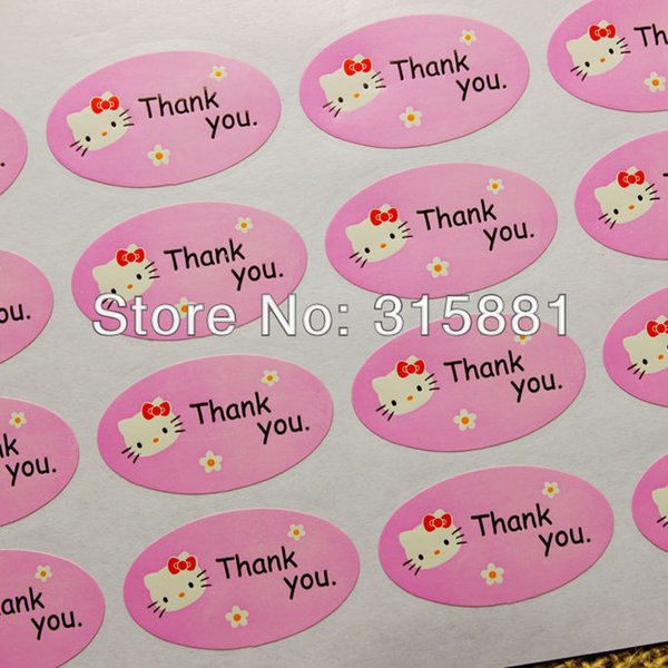 Pink hello kitty thank you stickers for home made cakes,muffins,cookies,chocolates,gift stickers