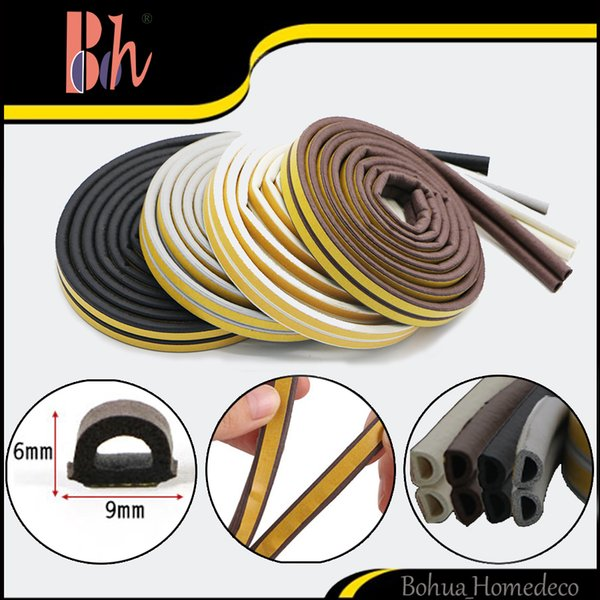 top popular 1 Roll Double 3M (=6M) Self Adhesive D Type Doors Windows Foam Sealing Strip Anti-Collision Sound Insulation Windproof EPDM Rubber Seal Pipe 2019