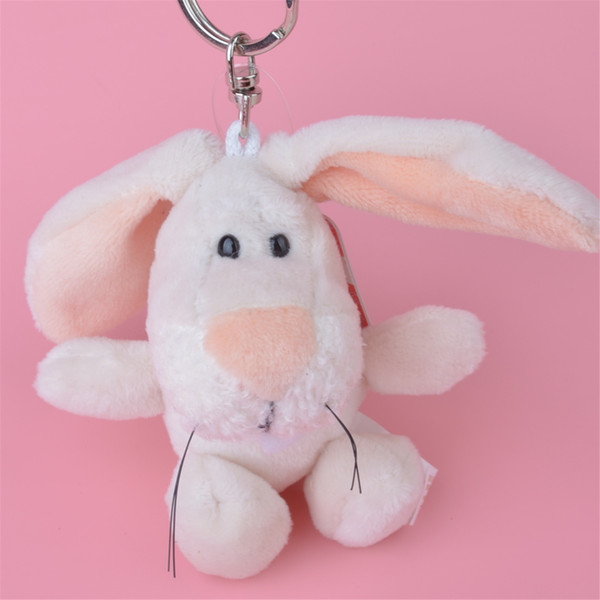 Small Size 10cm White Color Rabbit Stuffed Animals Plush Keychain, Backpack Pendant, Keyring Plush Toys Free Shipping
