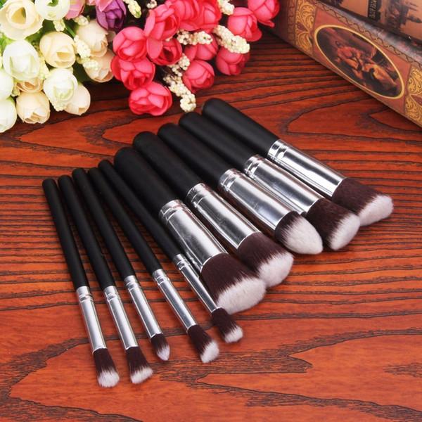 10pcs long and short Professional Cosmetic Makeup Brush Set round flat angled tapered brush kits Eyeshadow Blush Brushes Tools