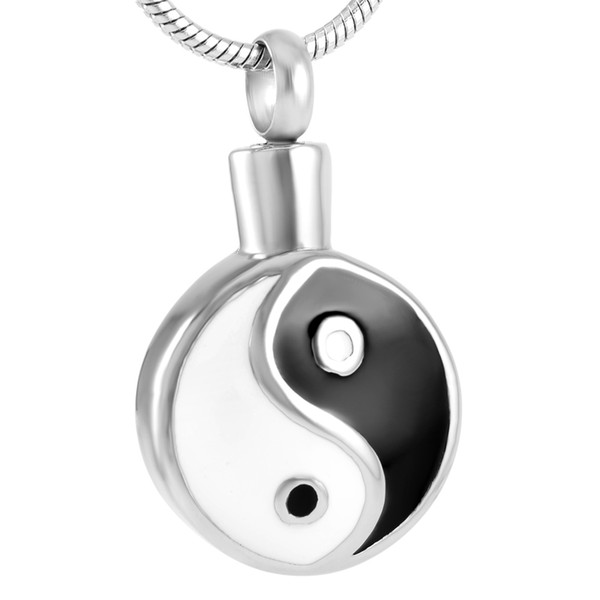 Chinese Tai Ji Stainless Steel Cremation Pendant Necklace Memory Ashes Keepsake Urn Holder Necklace