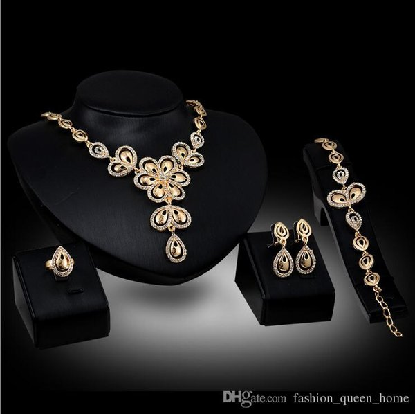 12set 2017 African fashion new golden plated long jewelry set bride wedding party crystal necklace earrings ring jewelry set F10338
