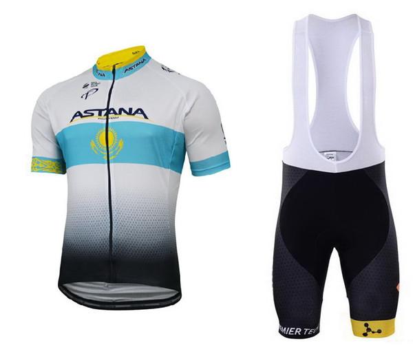 2017 Astana Cycling Team Bike Kit Bicycle Short Sleeve Jersey Padded Bib Shorts