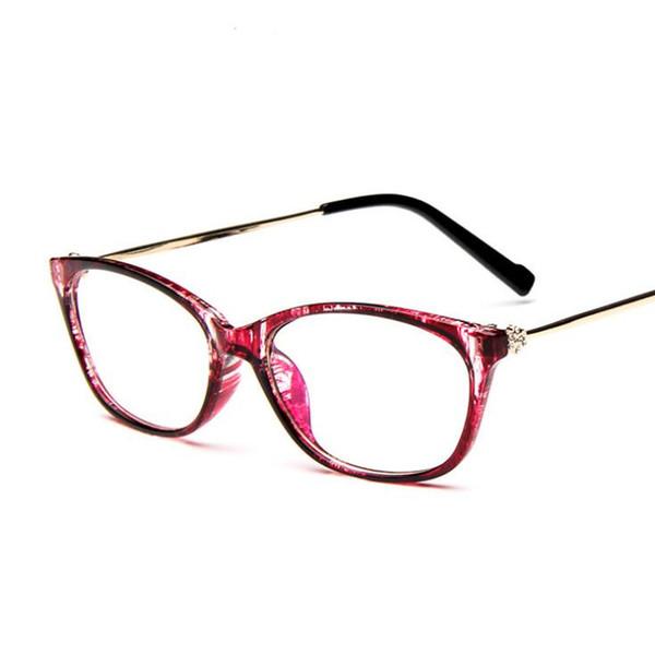 Atacado-Vintage Diamond Decoração Moda Óculos Frame Mulheres Cat Eye Eyeglasses Limpar Lens Eyewear Prescription Metal oculos de grau