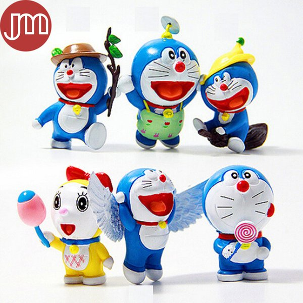 Kawaii Anime Cartoon Cute Doraemon With Wings Mini PVC Figure Model Toys Dolls Keychain 6pcs/set Child Toys Kids Christmas Gifts