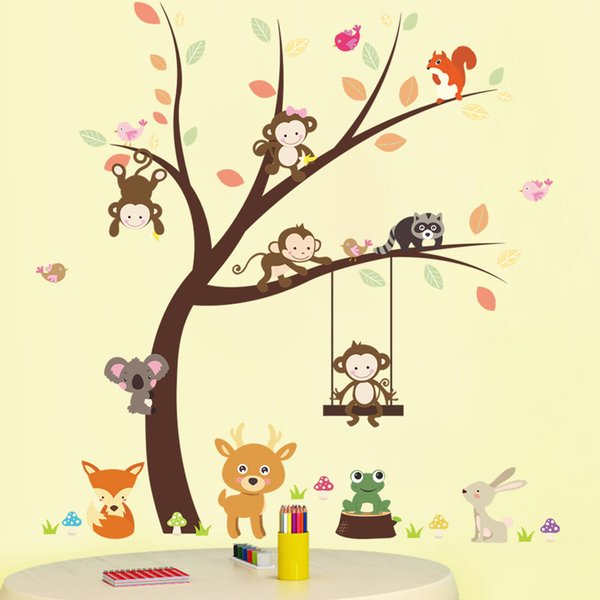 Decals Monkey Deer Squirrel Fox Cartoon Wall Sticker PVC Animals Wall Murals for Living Room Kids Room and Nursery Home Decor