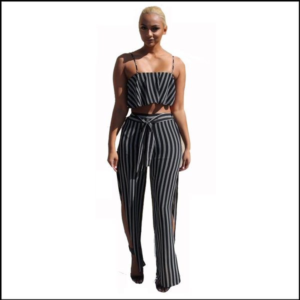 2017 Sexy Striped Pant Suits 2017 Summer Fashion Set Women Tank ...