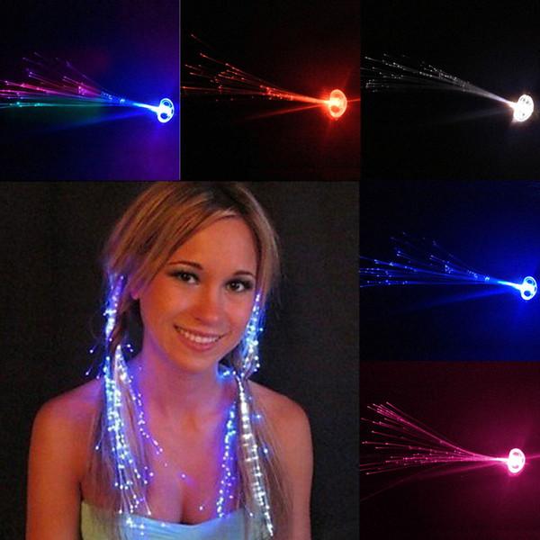 best selling Flash Braid Colorful Flash Braid Luminous LED Hearwear Headdress Masquerade Festival Props Light Up Fiber Optic Hair Pigtail Christmas Gift