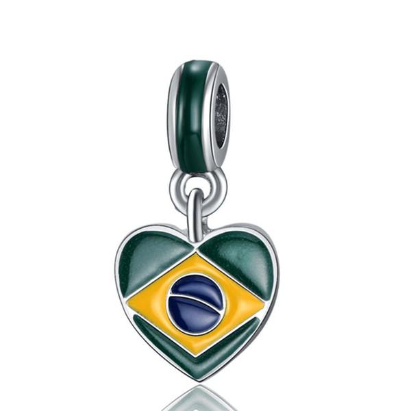 20pcs/lot Fashion Silver plated Enamel Brazil Flags Heart Design Alloy metal DIY Charm fit European Bracelet&Necklace Low Price PED146