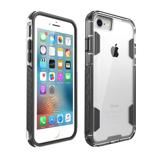 Vente chaude Clear Frame Case Soft TPU Dur PC 2in1 Antichoc Case Pour iphone 7 7 plus 10 PCS