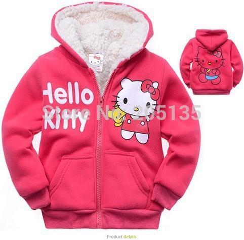 Al por mayor-2016 Bebés Hello Kitty abrigo con capucha de piel suéter invierno cálido chaqueta niños prendas de vestir exteriores niños ropa al por menor