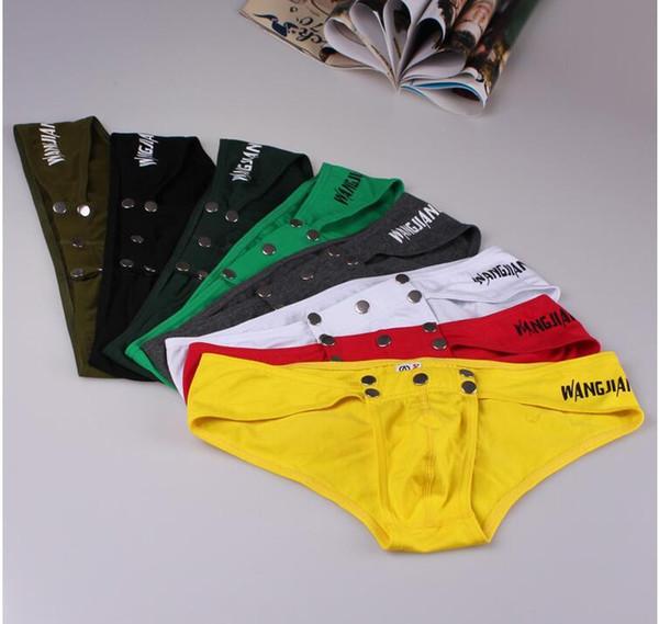 NEW brand men underwear gay underwear Low waist Pirate Cotton Print Removable Button U Convex Design Sexy Briefs
