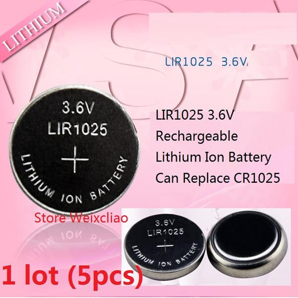 5pcs 1 lot LIR1025 3.6V Lithium li ion rechargeable pile bouton 1025 3.6 volts li-ion piles de la pièce remplacer CR1025 livraison gratuite